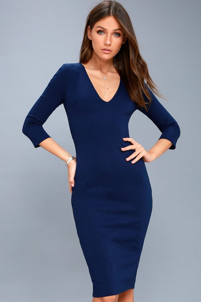 Style and Slay Navy Blue Bodycon Midi Dress - Lulus