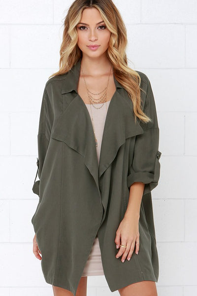 Lucky Break Olive Oversized Jacket - Lulus