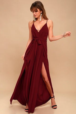 Hype Dream Wine Red Backless Wide-Leg Jumpsuit - Lulus
