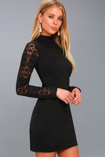 Lace Up Your Sleeve Black Lace Long Sleeve Bodycon Dress - Lulus