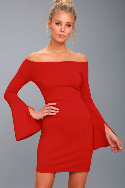Marseille Red Off-the-Shoulder Long Sleeve Bodycon Dress - Lulus