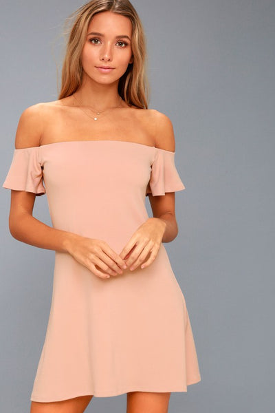 Kiss Keeper Blush Pink Off-the-Shoulder Swing Dress - Lulus