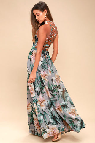 Love Abloom Grey Floral Print Lace-Up Maxi Dress - Lulus