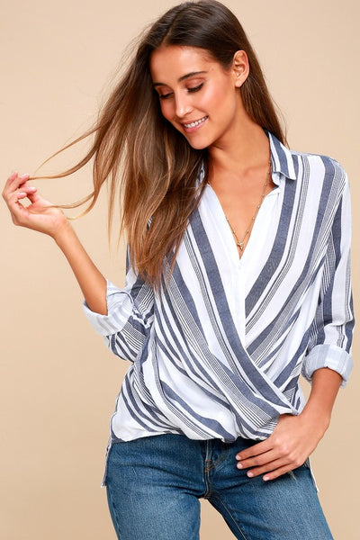 Sail West Blue and White Striped Surplice Top - Lulus