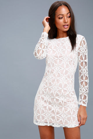 Dawning Twilight White Long Sleeve Lace Dress - Lulus