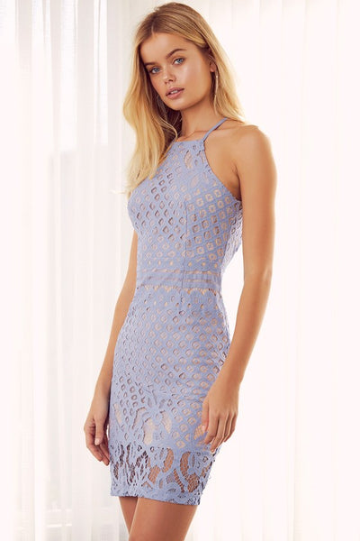 Steal a Kiss Light Blue Lace Dress - Lulus