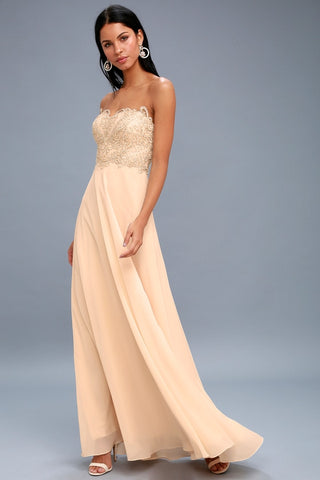 Royal Romance Champagne Strapless Rhinestone Maxi Dress - Lulus
