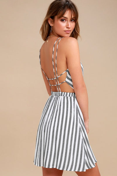 Oceanside Adventure White Striped Backless Skater Dress - Lulus