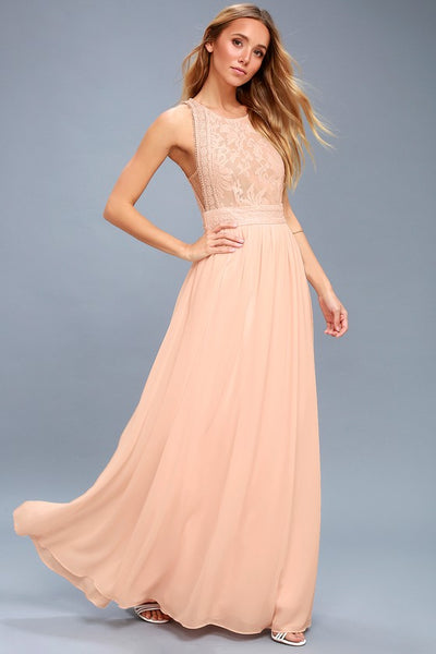 Forever and Always Blush Pink Lace Maxi Dress - Lulus