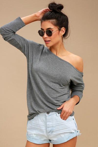 Travis Heather Grey Long Sleeve Sweater Top - Lulus