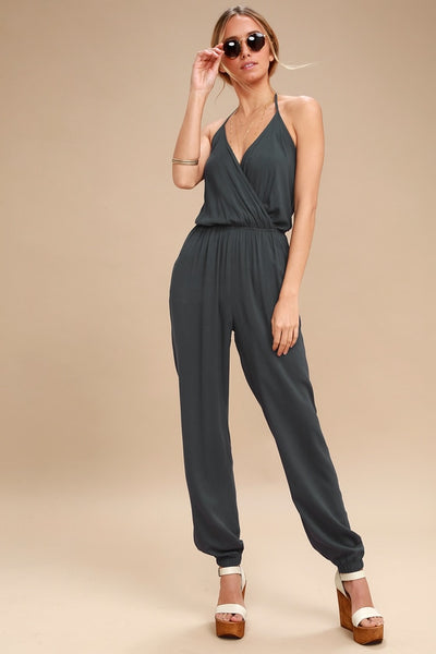 Learning to Fly Charcoal Grey Jumpsuit - Lulus