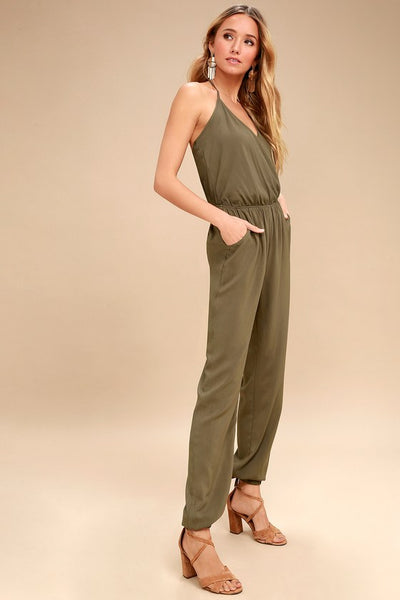 Learning to Fly Olive Green Jumpsuit - Lulus