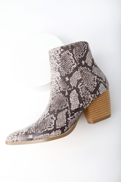 Spirit Natural Snake Print Pointed Toe Ankle Booties - Lulus