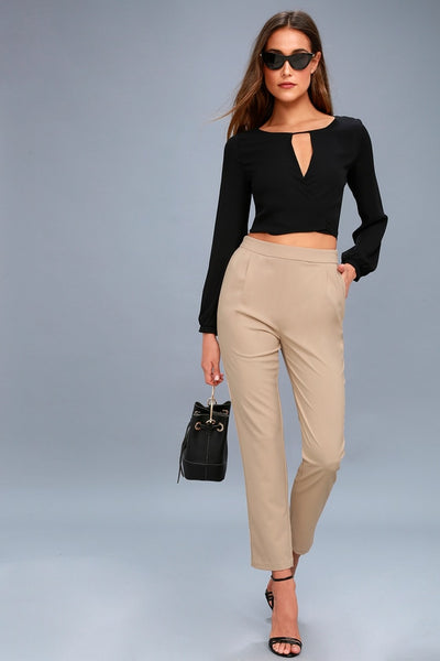 Kick It Beige Trouser Pants - Lulus