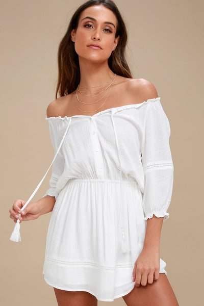 Zappa White Off-the-Shoulder Long Sleeve Dress - Lulus