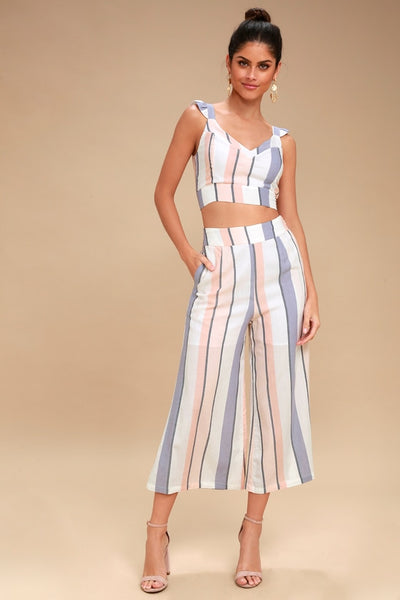 Jen White Multi Striped Culotte Pants - Lulus