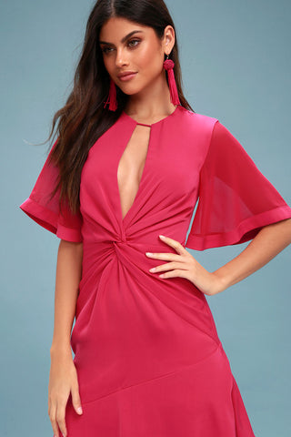 No Love Fuchsia Knotted Midi Dress - Lulus