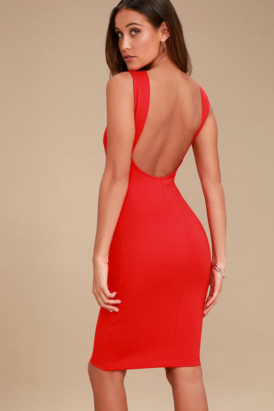 Like a Lady Red Backless Midi Dress - Lulus