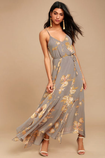 Feeling Freesia Grey Floral Print Maxi Dress - Lulus