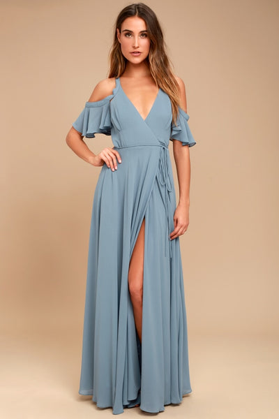 Easy Listening Slate Blue Off-the-Shoulder Wrap Maxi Dress - Lulus