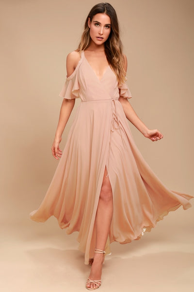 Easy Listening Blush Off-the-Shoulder Wrap Maxi Dress - Lulus