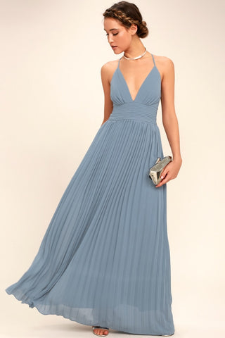 Depths of My Love Dusty Blue Maxi Dress - Lulus