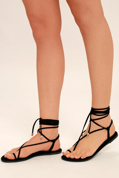 Micah Black Lace-Up Flat Sandal Heels - Lulus
