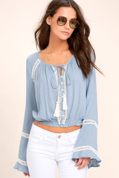 Simpler Times Light Blue Long Sleeve Crop Top - Lulus