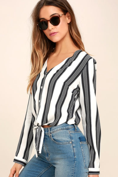 Cole Valley Black and White Striped Top - Lulus