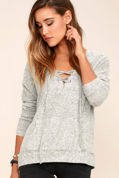 Slow Motion Heather Grey Lace-Up Hoodie - Lulus