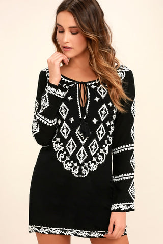 A Day in the Life Black and White Embroidered Dress - Lulus