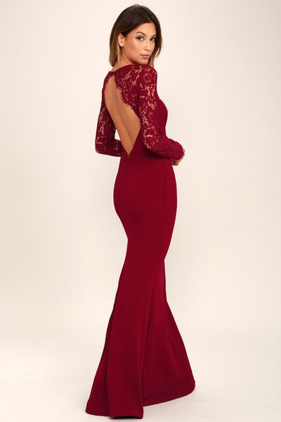 Whenever You Call Wine Red Lace Maxi Dress - Lulus