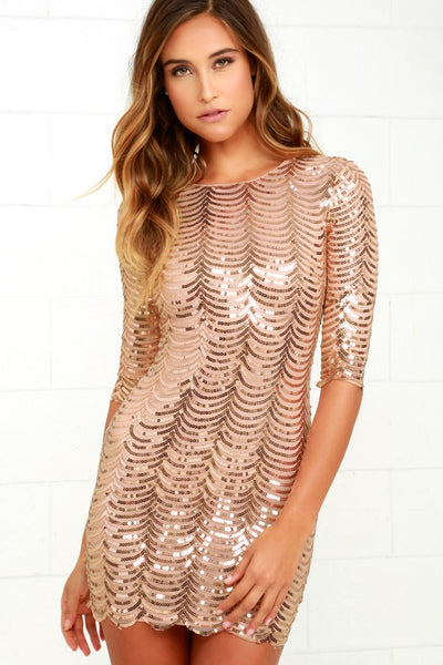 Star Dust Gold Sequin Bodycon Dress - Lulus
