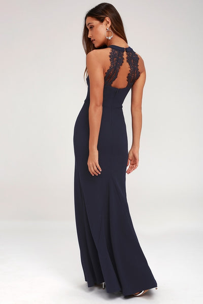 Joella Navy Blue Lace Halter Maxi Dress - Lulus