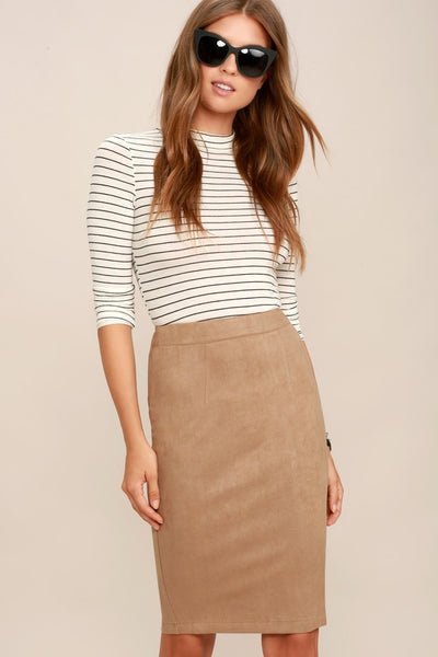 Superpower Tan Suede Pencil Skirt - Lulus
