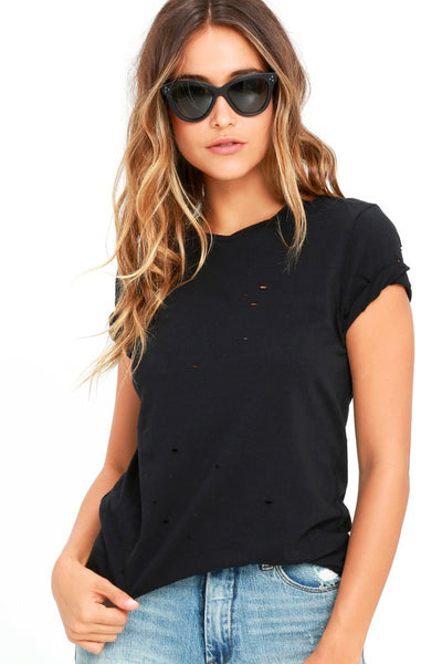 In the Raw Distressed Washed Black Tee - Lulus