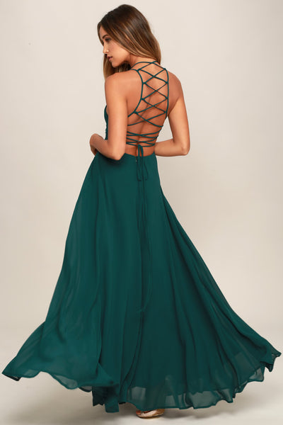 Strappy to be Here Forest Green Maxi Dress - Lulus