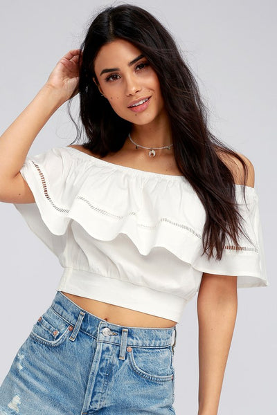 Adventure Abroad White Off-the-Shoulder Crop Top - Lulus