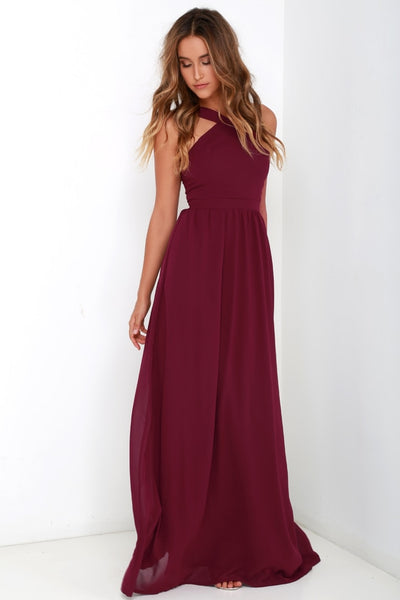Air of Romance Burgundy Maxi Dress - Lulus