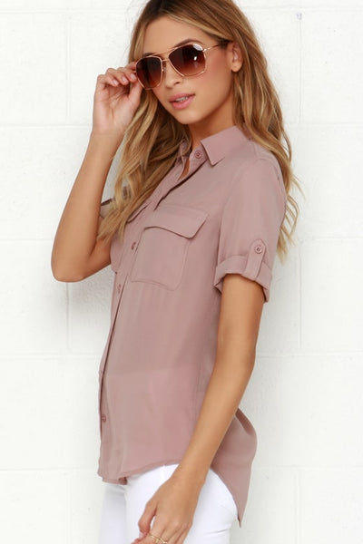 Best of Friends Mauve Button-Up Top - Lulus
