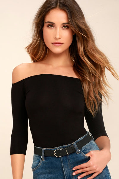 Upstage Black Off-the-Shoulder Top - Lulus