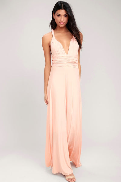 Tricks of the Trade Blush Pink Maxi Dress - Lulus