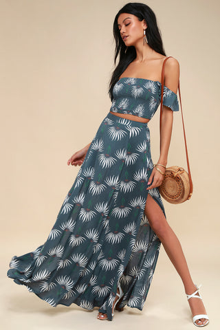Trancoso Dusty Blue Floral Print Two-Piece Maxi Dress - Lulus