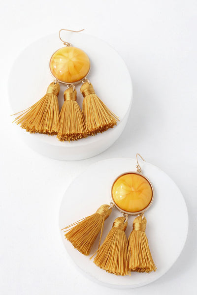 Body and Sol Golden Yellow Tassel Earrings - Lulus