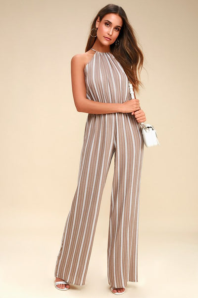 Ocean City Tan and White Striped Jumpsuit - Lulus