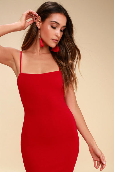 Flaunt It Red Bodycon Dress - Lulus