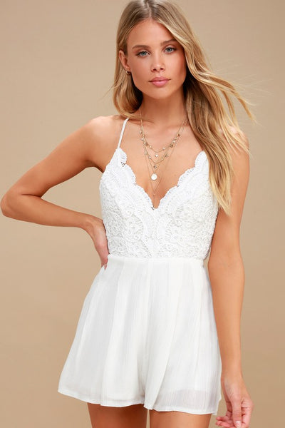 Star Spangled Ivory Backless Lace Romper - Lulus