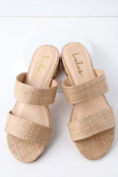 Decker Natural Woven Slide Sandal Heels - Lulus