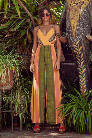 Beach Club Golden Yellow Striped Wide-Leg Jumpsuit - Lulus