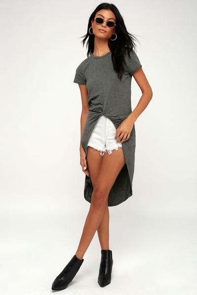 Surprise Party Dark Heather Grey Knotted High-Low Tee - Lulus